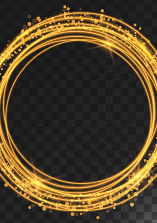 Frame of gold rings with glitter, sparkles and flashes on a dark transparent background. Vector illustration.