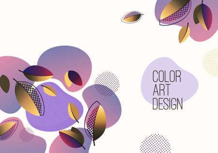 Bright abstract background, fluid gradient shapes, creative leaves. Template for banners, presentations, flyers, posters, wallpapers illustration