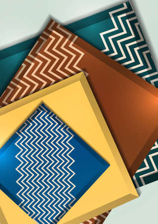 Multicolored decorative 3D squares on a light background. Template for your design. Abstract vector illustration.