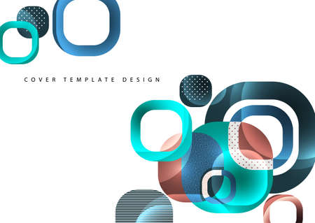 Overlapping round squares form a geometric abstract background composition. Design template for wallpaper, banner, background, card, illustration, landing page, cover, poster, flyer.  illustration