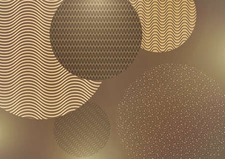 Abstract background with creative circles, points, lines on a beige background. Trendy vector illustration for your design.