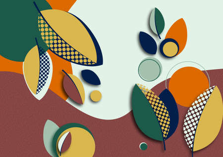 Bright abstract background, colored waves, creative leaves. Template for banners, presentations, flyers, posters wallpapers Vector illustration