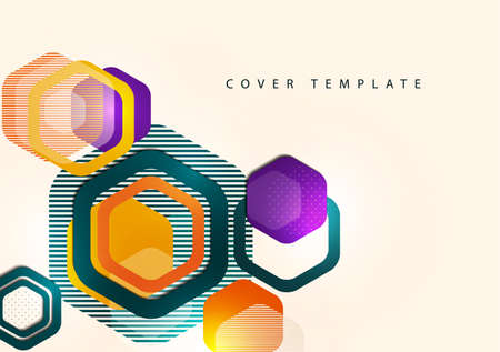 Bright abstract background of rounded multicolored hexagons and lines. Business presentation template. Modern geometric design. illustration Illustration