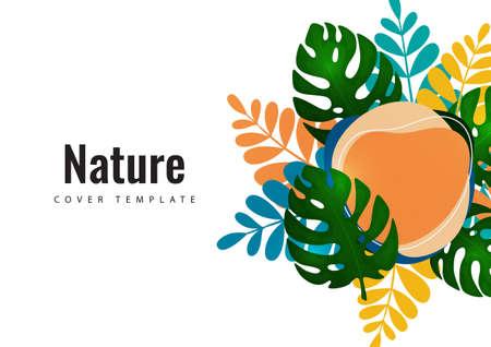 Tropical leaf banner background. Exotic botanical design. Modern sale flyer in vector. Summer sale banner. Big sale advertisement. Vector illustration Standard-Bild - 155675195