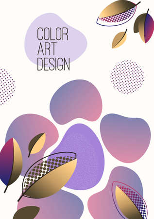 Bright abstract background, fluid gradient shapes, creative leaves. Template for banners, presentations, flyers, posters, wallpapers Vector illustration