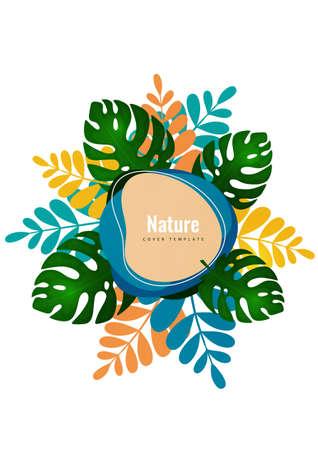 Tropical leaf banner background. Exotic botanical design. Modern sale flyer in vector. Summer sale banner. Big sale advertisement. Vector illustration Illusztráció