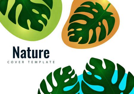Tropical leaf banner background. Exotic botanical design. Illusztráció