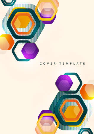 Bright abstract background of rounded multicolored hexagons and lines. Business presentation template. Modern geometric design