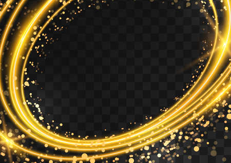 Frame made of gold oval rings with glitter, sparkles and flashes on a dark transparent background. Vector illustration. Illusztráció