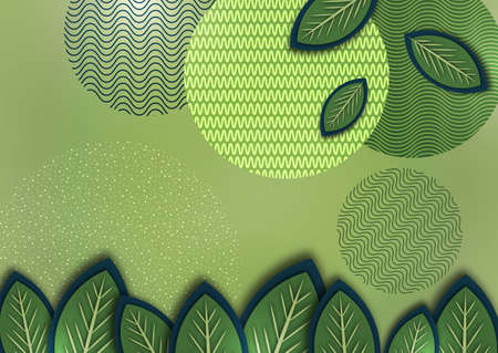 Abstract background with creative leaves, circles, points, lines on a green background. Trendy vector illustration for your design.