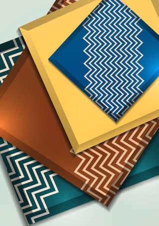 Multicolored decorative 3D squares on a light background. Illusztráció