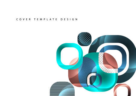 Overlapping round squares form a geometric abstract background composition. Illusztráció