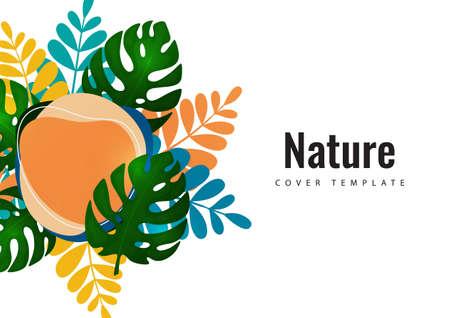 Tropical leaf banner background. Exotic botanical design. Modern sale flyer in vector. Summer sale banner. Big sale advertisement. Vector illustration Illustration