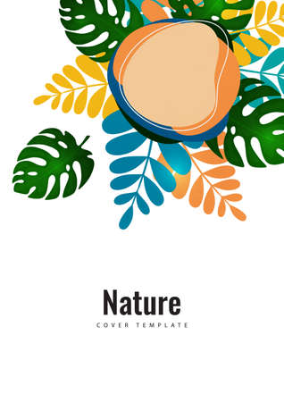 Tropical leaf banner background. Exotic botanical design. Modern sale flyer in vector. Summer sale banner. Big sale advertisement. Vector illustration Illustration