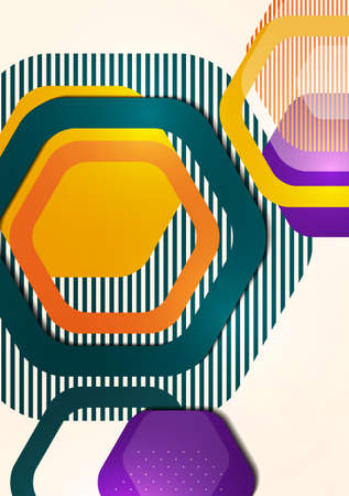 Bright abstract background of rounded multicolored hexagons and lines. Business presentation template. Modern geometric design. Vector illustration Standard-Bild - 155634012