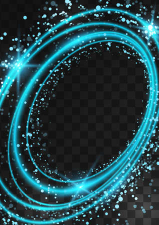 Frame of bright neon blue oval rings with glitter, sparkles and flashes on a dark transparent background. Vector illustration. Illustration