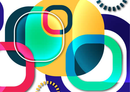 Overlapping round squares form a geometric abstract background composition. Design template for wallpaper, banner, background, card, illustration, landing page, cover, poster, flyer. Vector Illustration