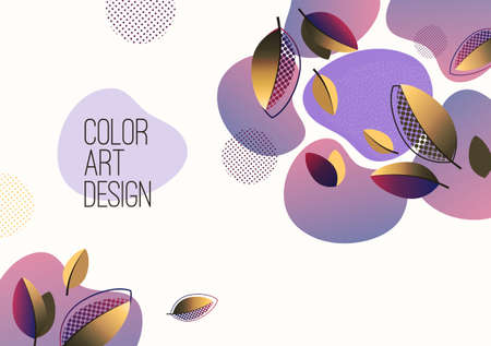 Bright abstract background, fluid gradient shapes, creative leaves.