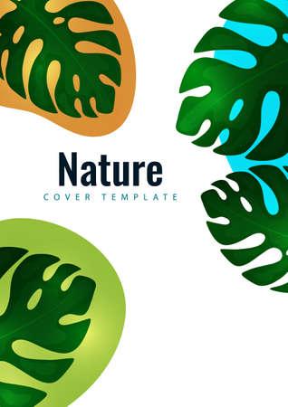 Tropical leaf banner background. Exotic botanical design. Modern sale flyer in vector. Summer sale banner. Big sale advertisement. Vector illustration 向量圖像
