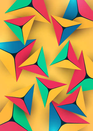 Abstract colorful background with geometric elements. Pyramids, triangles. Minimal cover design. Template for your corporate design. Vector illustration 向量圖像