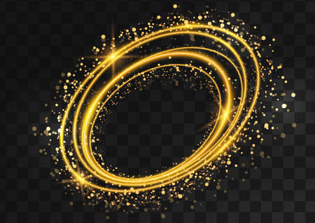 Frame made of gold oval rings with glitter, sparkles and flashes on a dark transparent background. Vector illustration. 向量圖像