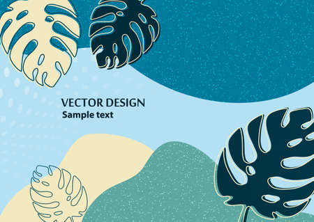 Bright abstract background, colored waves, texture, monstera leaves. Universal art template. Modern design for banners, business cards, invitations, gift cards, flyers, brochures Vector illustration