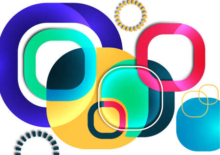 Overlapping round squares form a geometric abstract background composition. Design template for wallpaper, banner, background, card, illustration, landing page, cover, poster, flyer. Vector 向量圖像