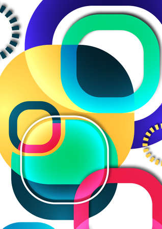 Overlapping round squares form a geometric abstract background composition. Vector