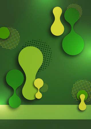 Organic design liquid colored abstract geometric shapes.