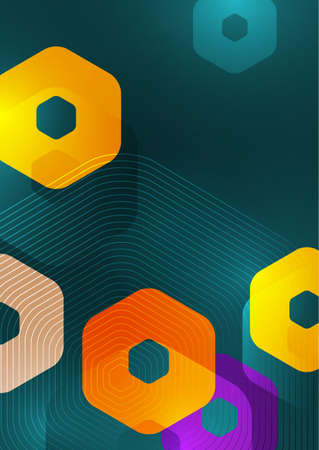 Bright abstract background of rounded multicolored hexagons and lines. Business presentation template. Modern geometric design. Vector illustration