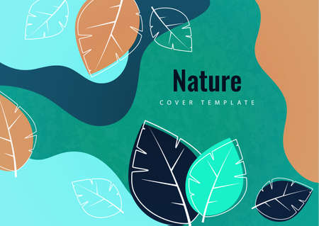 Abstract creative leaves, waves, bright modern background. Ecology concept. Vector illustration for your design. 向量圖像