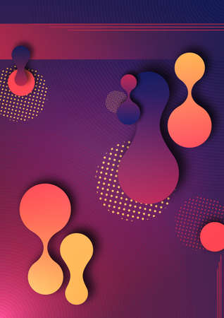 Organic design liquid colored abstract geometric shapes. Elements for a minimal banner, logo, social posting. Vector illustration