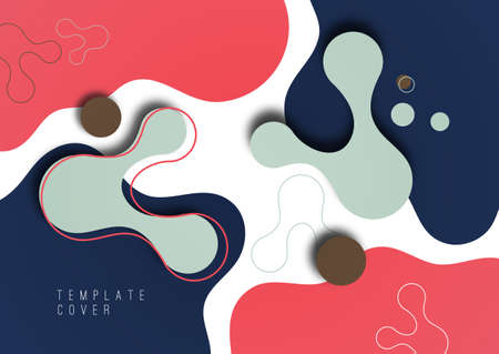 Colorful geometric background design. Composition of flowing shapes with trendy colors. Design for poster, page, flyer, cover. Vector illustration