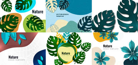 Collection of postcards. Bright abstract background, colored waves, texture, monstera leaves. Universal art template. Modern design for banners, business cards, invitations, flyers, brochures Vector illustration