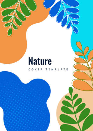 Abstract shapes with wavy edges, smoothly curved branches with leaves on a white background. Stylish modern eco template for your design. Vector illustration.