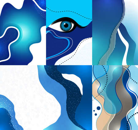 Collection of postcards. Creative mystic eye, flowing style, gradient background, texture. Poster, banner, flyer. Vector illustration for your design.