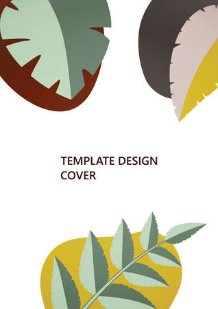 Geometric shapes, abstract tropical leaves on a white background. Dynamic template for your cover design. Vector illustration. Vettoriali