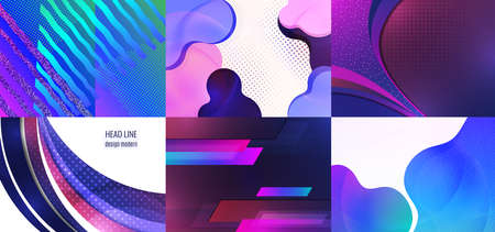 Collection of postcards. Abstract wave background with copy space. For business technical design templates, web design, presentations. Vector illustration Archivio Fotografico