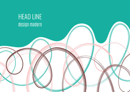 Tangled chaotic doodles on white, colored wave, space for text. Creative template for your design. Vector illustration