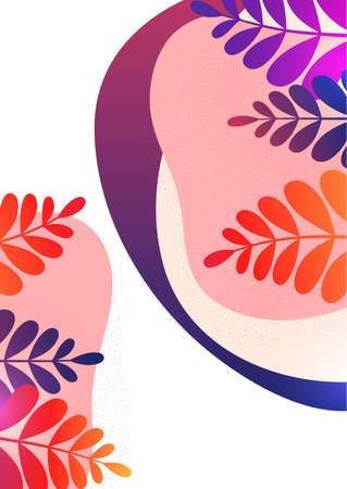 A poster with flowing colored shapes and leaves. Design template for covers, posters, banners, flyers, presentations and reports. Vector illustration.
