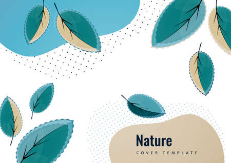 Abstract creative leaves, waves, bright modern background. Ecology concept. Vector illustration for your design. Illusztráció
