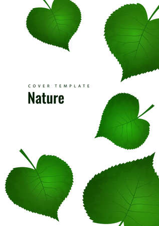 Nature background with green fresh leaves. Vector illustration.