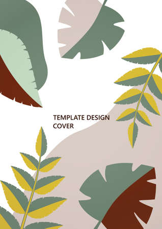 Geometric shapes, abstract tropical leaves on a white background. Dynamic template for your cover design. Vector illustration. Illusztráció