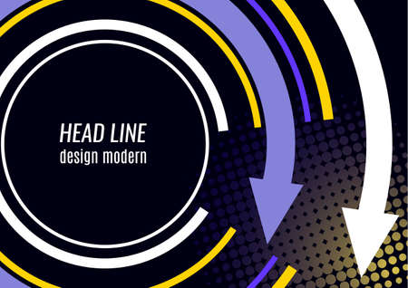 Creative circular arrow with place for text. Vector illustration on a black background. Template for banner design, business concept or web advertising.