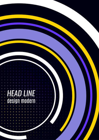 Creative circular lines with place for text. Vector illustration on a black background. Template for banner design, business concept or web advertising. Illusztráció