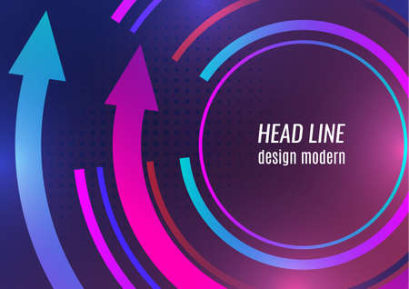 Creative circular arrow with place for text. Vibrant gradient colors. Template for banner design, business concept or web advertising. Vector illustration Illusztráció