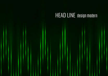 Glowing neon lines moving fast on a dark background. Green stripes and glittering ray traces on a dark background. Futuristic design. Vector illustration Illusztráció