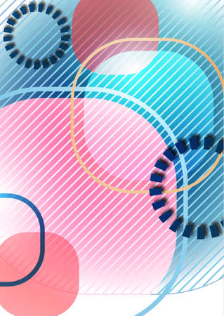 Overlapping round squares form a geometric abstract background composition. Design template for wallpaper, banner, background, card, illustration, landing page, cover, poster, flyer. Vector Illusztráció