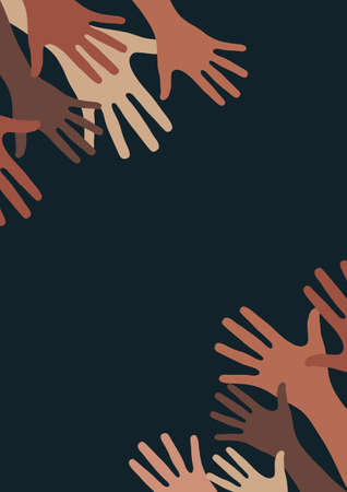 Raised hands, open palms. The concept of charity, volunteering, love, kindness, equality, racial and social issues. Vector illustration for your design.