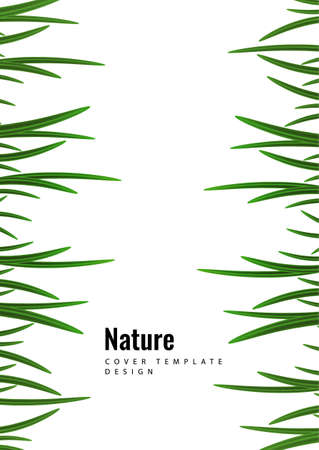 Abstract green grass border on a white background. Template for eco design. Vector illustration